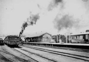 Railway station at Oakey c1930