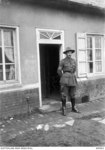 Image: Brigadier General Sinclair MacLagan, Commanding the 3rd Brigade in front of Headquarters mess at Bray 1916 Source: Australian War Memorial