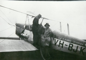"Image: J. Bjelke-Petersen plane to spray grubs in linseed on ""Antrim"" at Norwin 1957 Source: M. Ferguson"